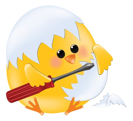 chick master holding screwdriver Stock Vector - 9124462