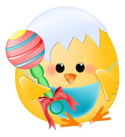 bebé de pollo con rattle Ilustración de vector