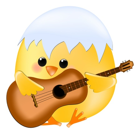 bird song: chick with guitar