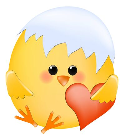 chick in shell with red heart Vector