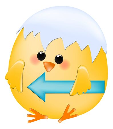 guiding: chick with arrow guiding to the left Illustration