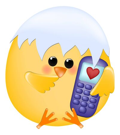 chick in shell with cellphone Vector