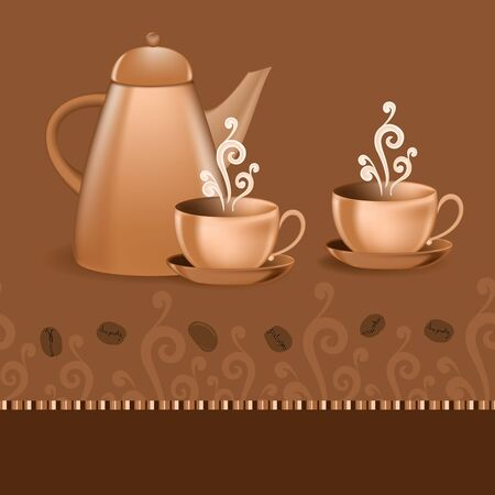 Seamless border with coffee pot and cups Vector