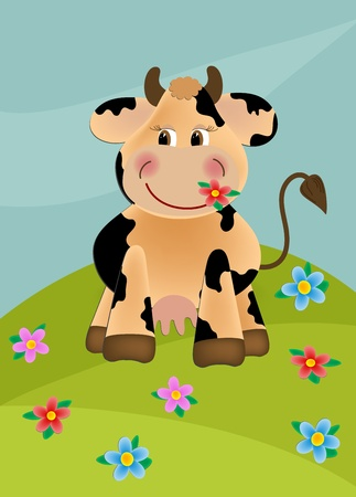 Cow grazing in the flower meadow Stock Vector - 9117133