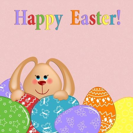 Easter greetings card with rabbit and painted eggs Vector