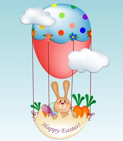 easter greeting card with bunny in balloon gondola Stock Vector - 9124465
