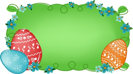 Easter banner or greetings card with painted eggs, flowers and text field Stock Vector - 9117173