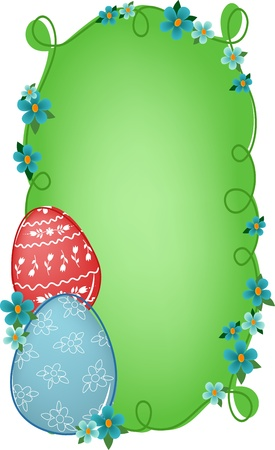 Easter banner or greetings card with painted eggs, flowers and text field (EPS10) Stock Vector - 9117174