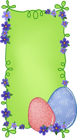 Easter banner or greetings card with painted eggs, flowers and text field (EPS10)