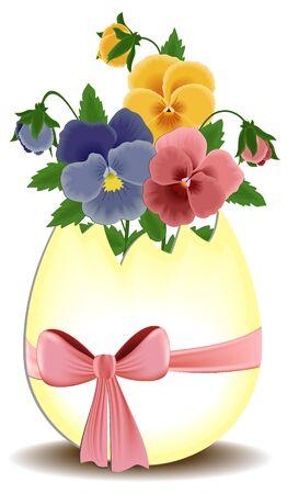 Biglietto di auguri di Pasqua con viole del pensiero nell'uovo