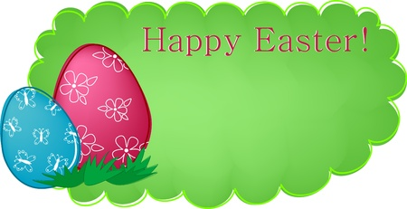 Easter banner or greetings card with painted eggs and flowers (EPS10) Stock Vector - 9124388