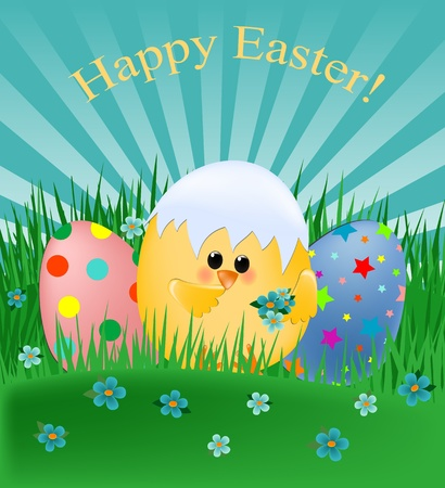 Easter greetings card with chick and painted eggs (EPS10) Stock Vector - 9117172