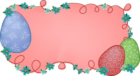 Pink easter banner or greetings card with painted eggs and flowers Stock Vector - 9117178