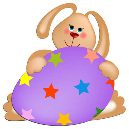 Easter rabbit with violet painted egg Vector