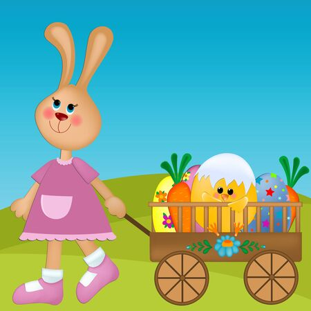 Easter greeting cards with a rabbit pulling a trolley with eggs, carrots and chick Vector