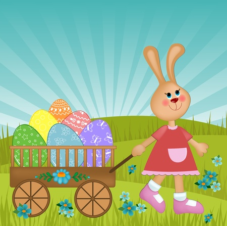 Easter greetings card with rabbit pulling trolley with painted eggs Vector