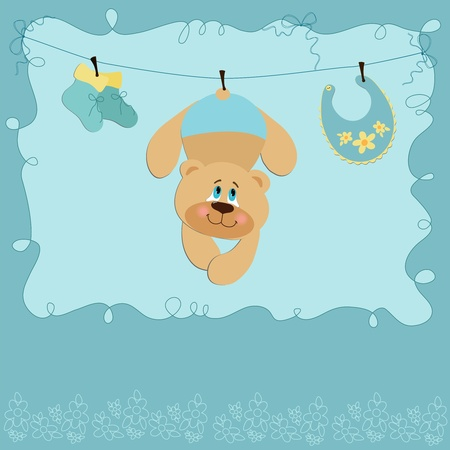 bootees: Baby greetings card with teddy bear
