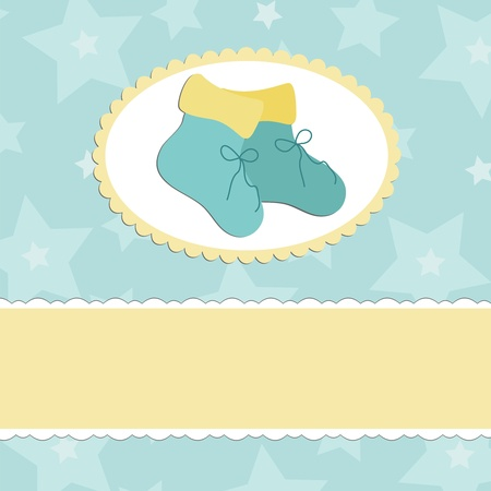 bootees: Baby greetings card with blue bootees Illustration