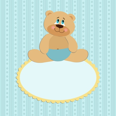 Baby greetings card with sitting teddy bear Vector