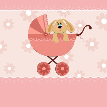 Baby greetings card with rabbit in pink stroller Vector