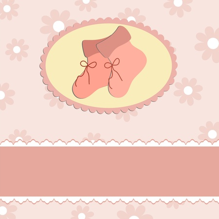 bootees: Baby greetings card with pink bootees