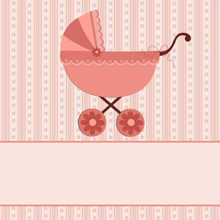Baby greetings card with pink stroller Vector