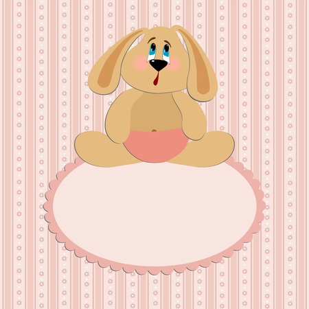 Baby greetings card with sitting rabbit Vector