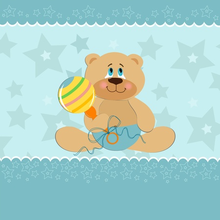 beanbag: Baby greetings card with sitting teddy bear with beanbag