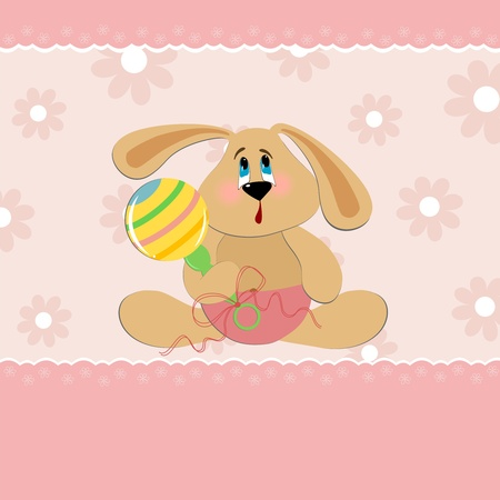 beanbag: Baby greetings card with sitting bunny with beanbag Illustration