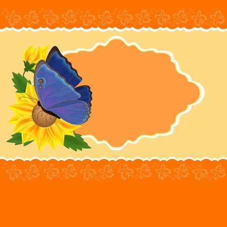 Greetings card with sunflowers and butterfly Vector
