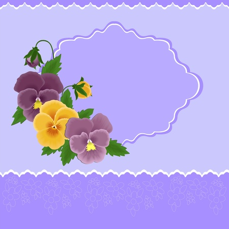 pansies: Greetings card with pansies for Mothers day