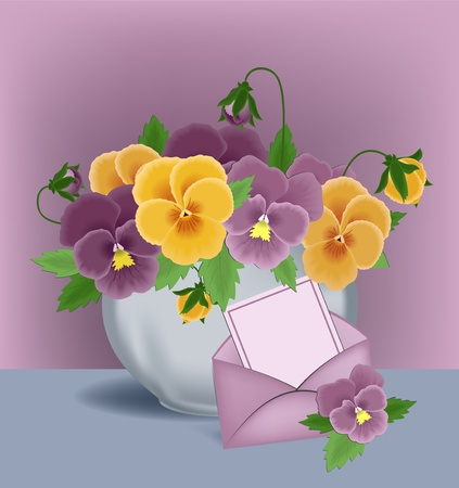 Pansies in a pot and greetings card envelope Vector