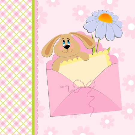 chamomile: Babys greetings card with rabbit and chamomile in pink colors Illustration