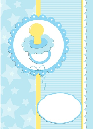 Greetings card or postcard with babys dummy in blue colors (EPS10) Vector