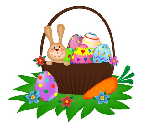 easter bunny with a painted eggs in the basket Stock Vector - 9124467