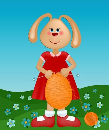Grüße Osterkarte mit Kaninchen machen aus Gewirken Ei Vektorgrafik