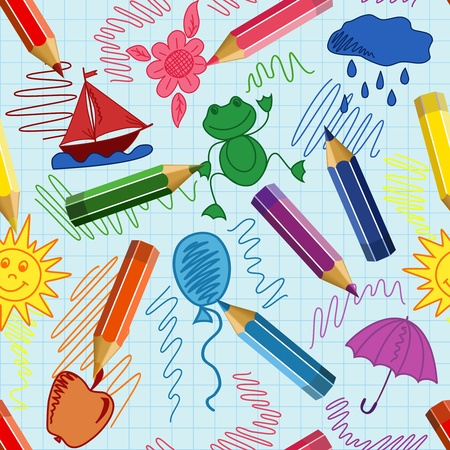 Seamless school background with pencils