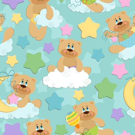 Seamless background for babies with bear toy Vector