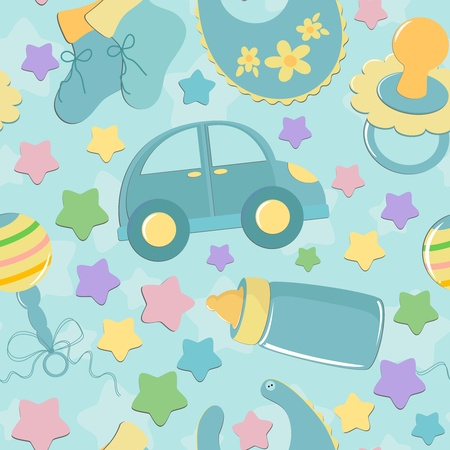 Seamless background with babys toys in blue colors Vector