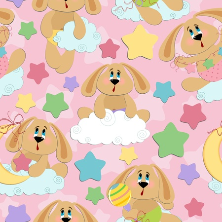 Seamless background for babies with bunny toy Vector