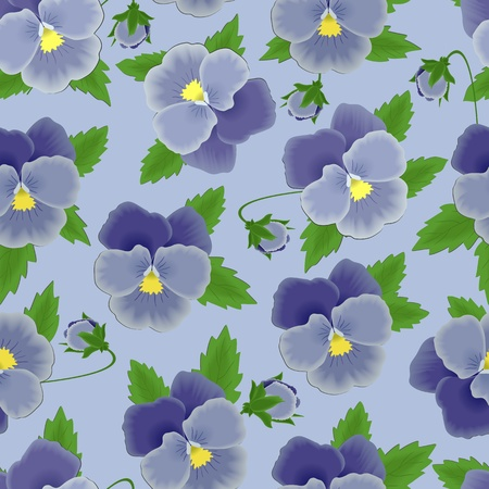 Seamless background with blue pansies Vector