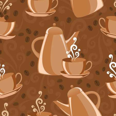 seamless background with coffee set Vector