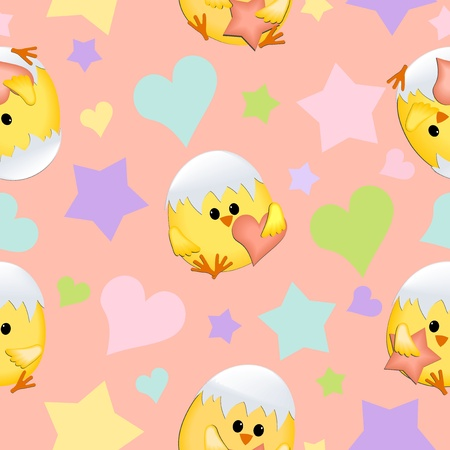 Vector seamless Valentines Day background with chicks Vector