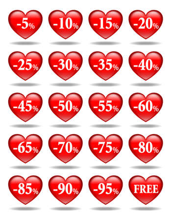 Set of red hearts icons-stickers with discount rate photo