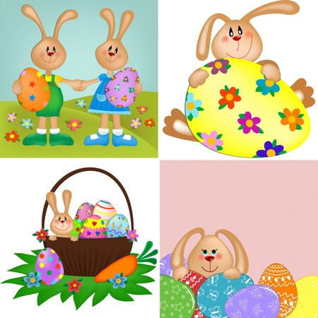 Templates for easter greetings card or postcard  Vector