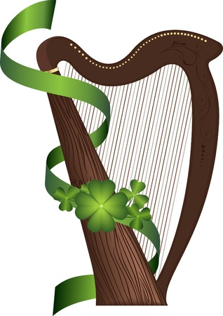 saint patricks: Saint Patricks Day wooden harp Illustration