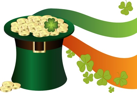 Saint Patricks Day Hat with gold Vector