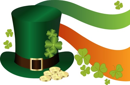 saint patricks: Saint Patricks Day Hat with gold Illustration