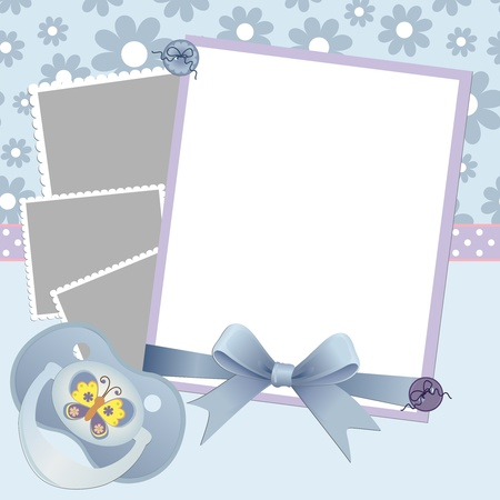 Cute template for baby's arrival announcement card or photo frame Stock Vector - 9541114