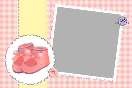 bootees: Cute template for babys arrival announcement card or photo frame Illustration